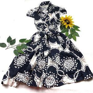 Kate Spade Silk Navy Cream Flowers Shirt Dress